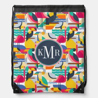 Geometric Tropical Birds | Monogram Drawstring Bag