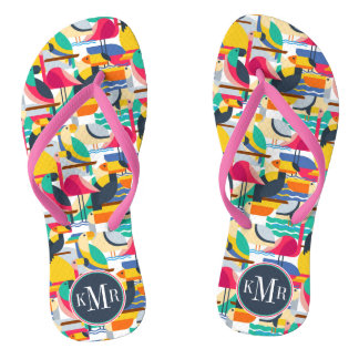 Geometric Tropical Birds | Monogram Flip Flops