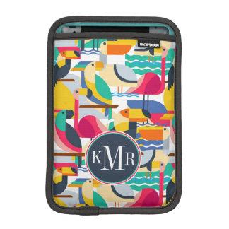 Geometric Tropical Birds | Monogram iPad Mini Sleeve