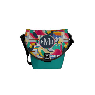 Geometric Tropical Birds | Monogram Messenger Bag