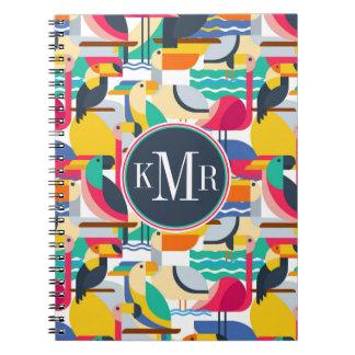 Geometric Tropical Birds | Monogram Notebook
