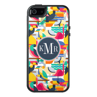 Geometric Tropical Birds | Monogram OtterBox iPhone 5/5s/SE Case