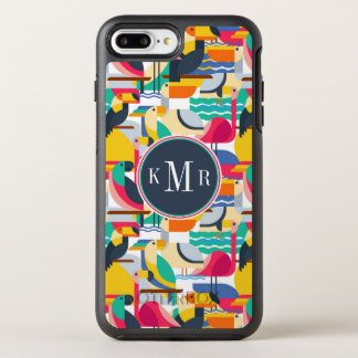 Geometric Tropical Birds | Monogram OtterBox Symmetry iPhone 8 Plus/7 Plus Case