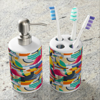 Geometric Tropical Birds Soap Dispenser And Toothbrush Holder