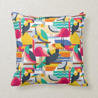 Geometric Tropical Birds Throw Pillow