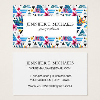 Geometric Tropical Flowers Pattern Business Card