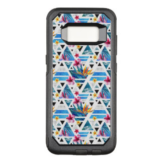 Geometric Tropical Flowers Pattern OtterBox Commuter Samsung Galaxy S8 Case