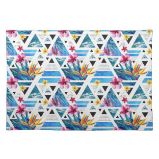 Geometric Tropical Flowers Pattern Placemat