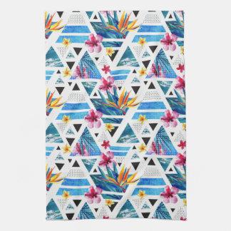 Geometric Tropical Flowers Pattern Tea Towel