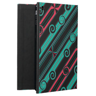 Geometric Turquoise, Coral and Black line Cover For iPad Air