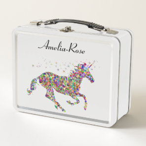 Geometric Unicorn Girls Name Metal Lunch Box