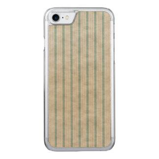Geometric Vertical Aqua & White Linen Stripes Carved iPhone 8/7 Case