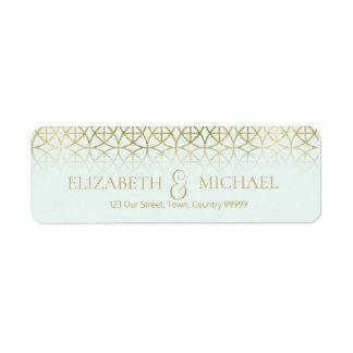 Geometric Wedding Return Address Gold/Mint ID477