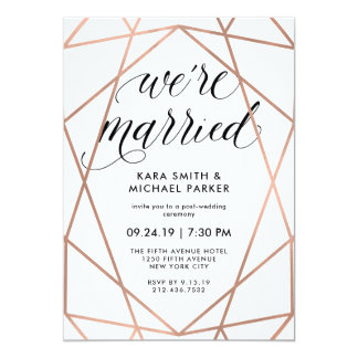 Geometric We're Married | Post-Wedding Party Card
