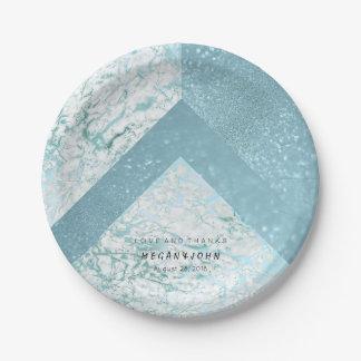Geometric White Glitter Blue Aquatic Marble Paper Plate