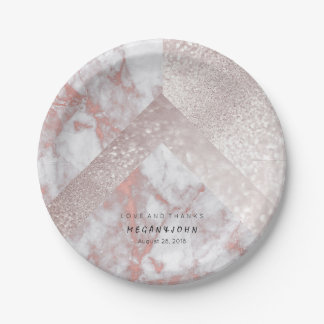 Geometric White Glitter Pink Rose Gold Marble 7 Inch Paper Plate