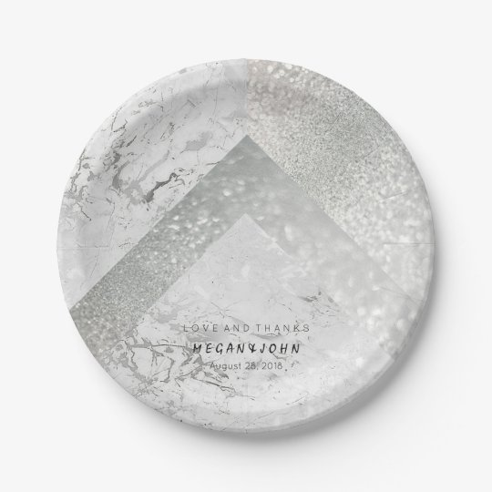 Geometric White Glitter Silver Marble Paper Plate