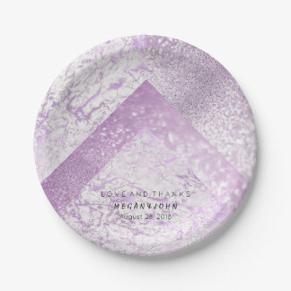 Geometric White Glitter Silver Purple Marble Paper Plate