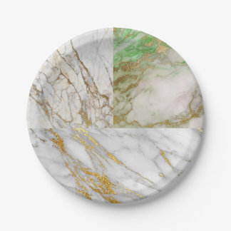 Geometric White Gray Carrara Mint Gold Marble Paper Plate