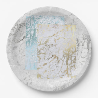 Geometric White Gray Silver Gold Blue Stone Marble Paper Plate