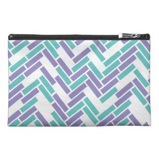 Geometric White, Teal and Purple Zipper Bag Travel Accessory Bag
