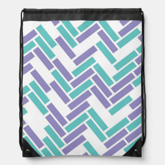 Geometric White, Teal & Purple Drawstring Backpack