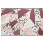 Geometric Wine Peach Marble and Rose Gold Triangle Fabric