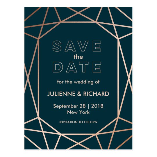 "Geometric | Winter Wedding ""Save the Date"" Postcard"