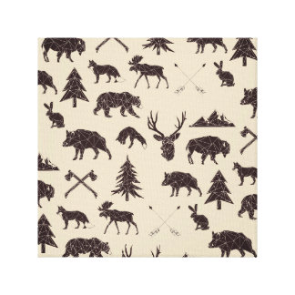 Geometric Woodland Animals | Animal Canvas Print