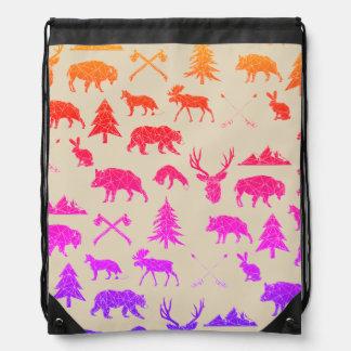 Geometric Woodland Animals | Neon Drawstring Bag