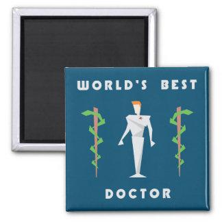 Geometric World's Best Doctor Square Magnet