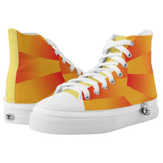 Geometric Yellow and Red Zipz High Top Shoes