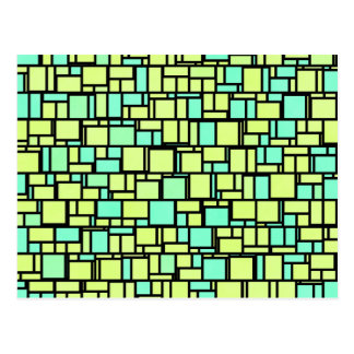 Geometric Yellow Green Shingles Postcard