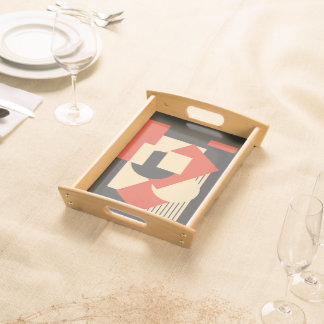 Geometrical abstract art deco mash-up serving tray