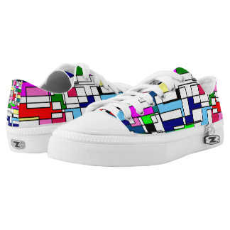 Geometrical colourful low top sneakers