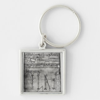 Geometrical figures for construction Silver-Colored square key ring