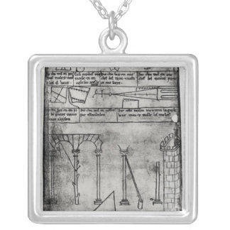 Geometrical figures for construction silver plated necklace