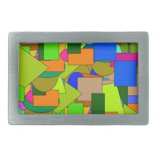 geometrical figures rectangular belt buckle