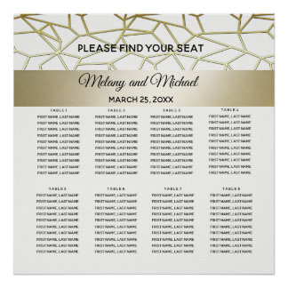 geometrical luxury  modern gold /white wedding poster