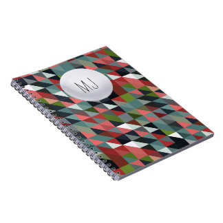 GeometricMonogrammed Notebook School Teen Fashion
