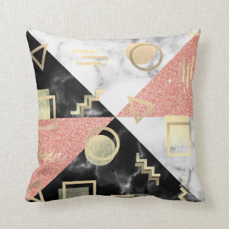 Geometry Black White Marble Rose Gold Glitter Retr Cushion