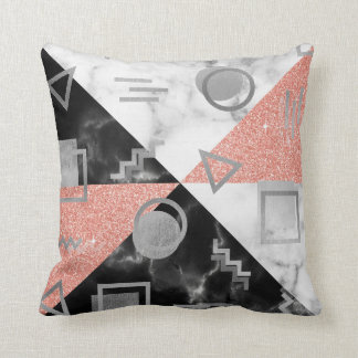 Geometry Black White Marble Rose Gray Glitter Retr Cushion