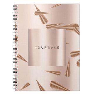 Geometry Blush Pink Rose Gold Spikes Metallic Notebook