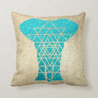 Geometry Gold Foxier Ocean Glitter Elephant Throw Pillow