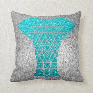Geometry Gray Silver Ocean Glitter Elephant Throw Pillow