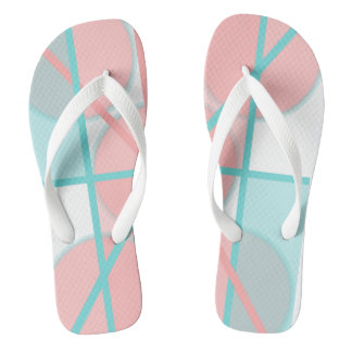 Geometry in pink and turquoise flip flops