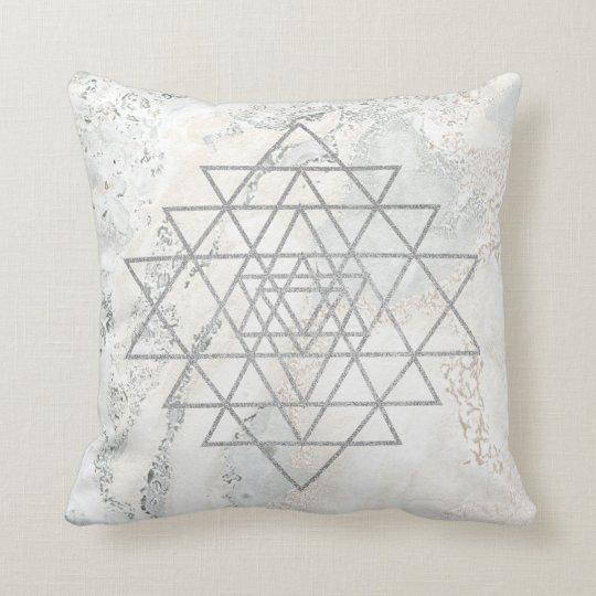 Geometry Ivory Hexagon Marble Triangles White Gray Cushion