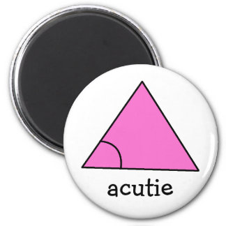 Geometry Math Teacher Gift Triangle Acute Acutie 6 Cm Round Magnet