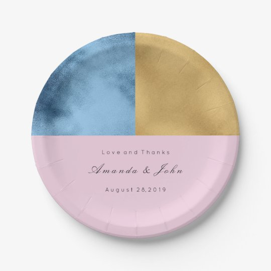 Geometry  Navy Lilac Pink Gold Pastel Bridal Event 7 Inch Paper Plate