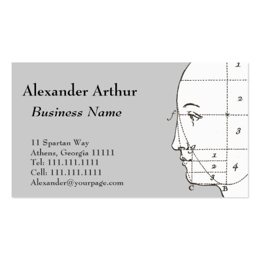Geometry of the Human Head Antique Print Business Cards
